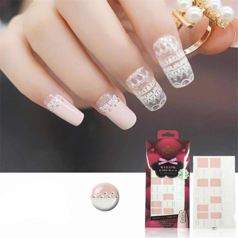 16 Nail Polish Stickers - Sheer Lace - PicaPicaBeauty