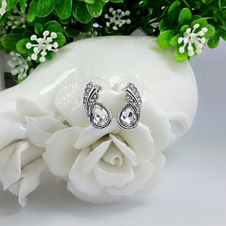 Austrian Crystal leaf stud Earrings - PicaPicaBeauty