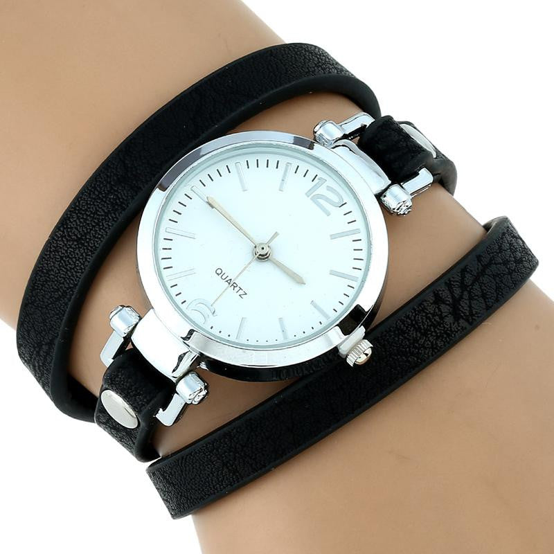 Large Strap Leather Wrap Wristwatch - PicaPicaBeauty