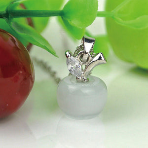 Opal Cat Eye Silver Plated Apple Necklace Pendant - PicaPicaBeauty
