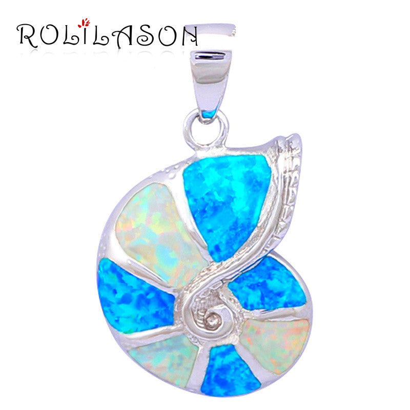 Trendy Blue & White Fire Opal Pendant - PicaPicaBeauty