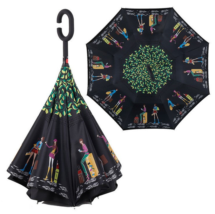Reverse Folding Self Stand Inside Out C-Hook Umbrella - PicaPicaBeauty