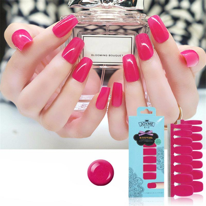 16 Nail Polish Stickers - Hot Pink - PicaPicaBeauty