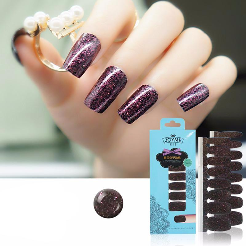 16 Nail Polish Stickers - Plum Glitter - PicaPicaBeauty