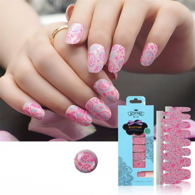 16 Nail Polish Stickers - Pink Patterns - PicaPicaBeauty