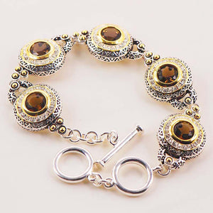 "8"" Brown Zircon Silver Bracelet for women - PicaPicaBeauty"
