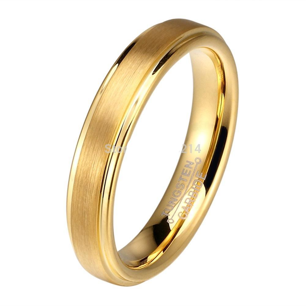 Gold matte brushed wedding bands PAIR - PicaPicaBeauty