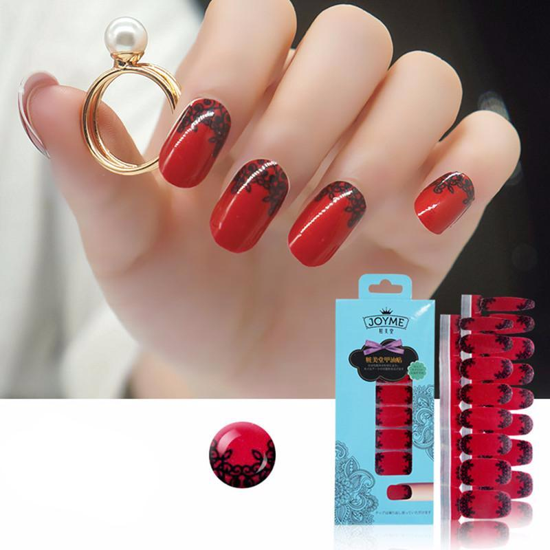 16 Nail Polish Stickers - Red Flowers - PicaPicaBeauty