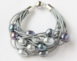 Grey and Black Pearls Leather Bracelet - PicaPicaBeauty