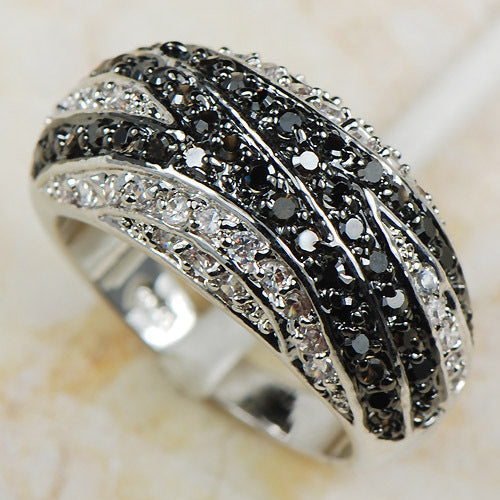 Black & White Silver Ring - PicaPicaBeauty