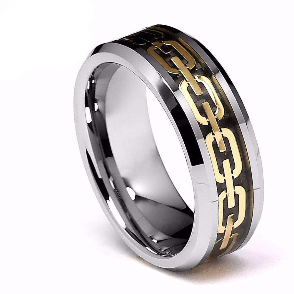 Gold Link Chain Mens Ring - PicaPicaBeauty