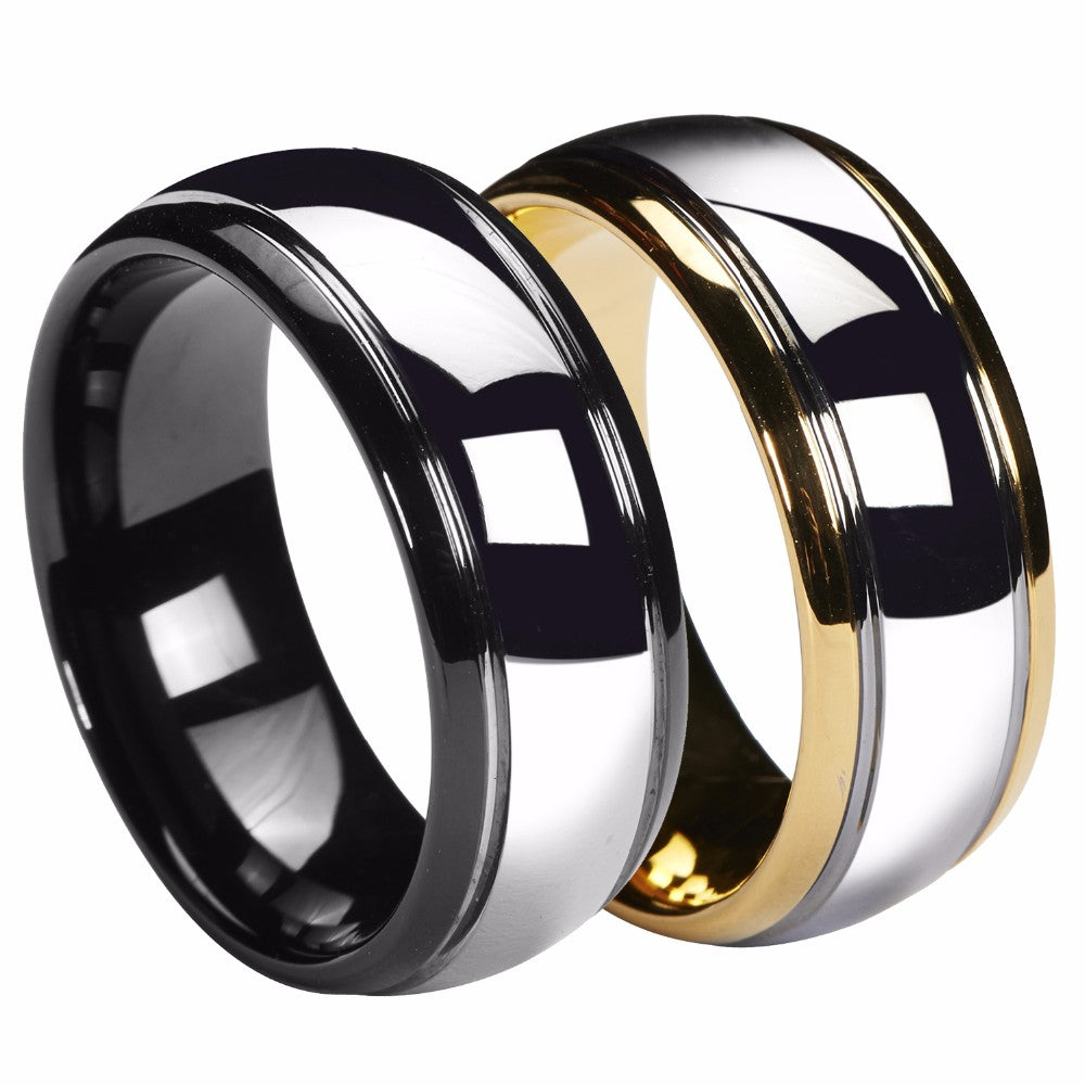 Gold/ Black Mens Tungsten Band - PicaPicaBeauty