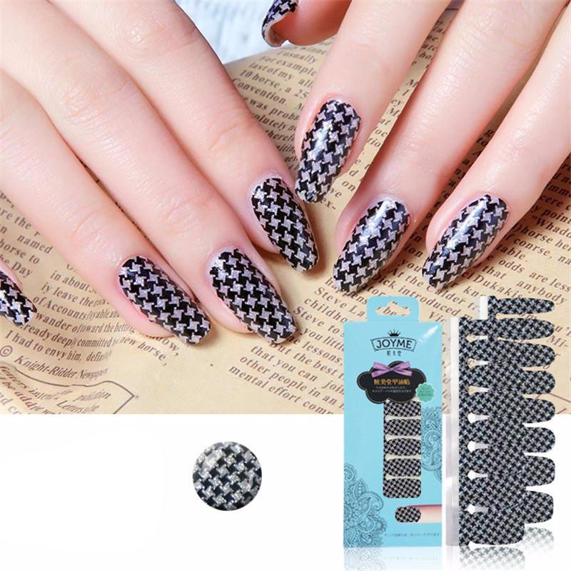 16 Tips Real Nail Polish Stickers - Houndstooth-Stickers & Decals -PicaPicaBeauty