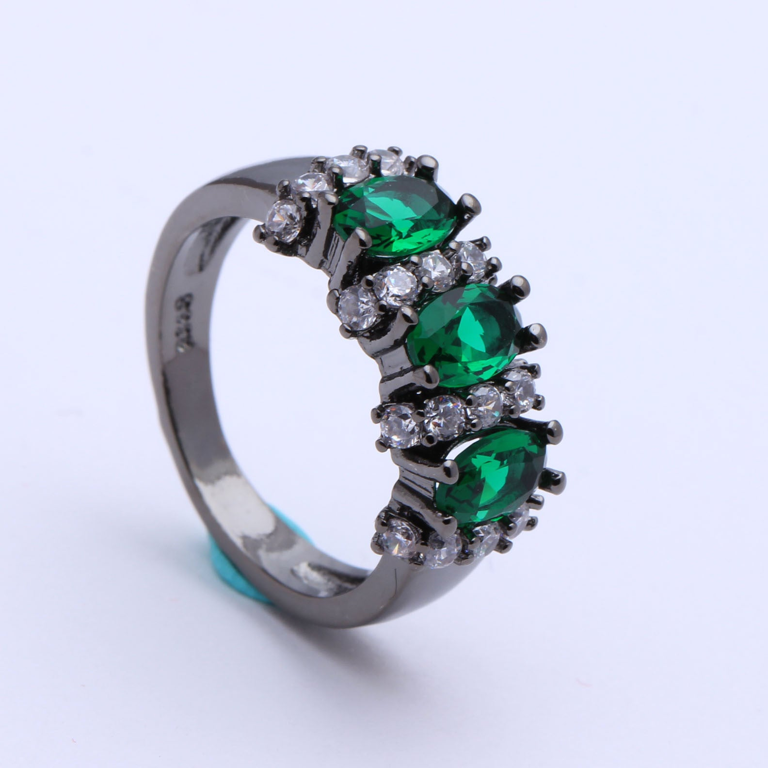 Black Gold Plated Green Czech Zircon Ring - PicaPicaBeauty
