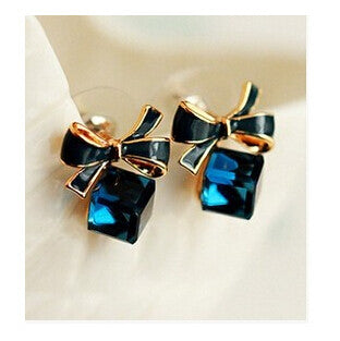 Rose Gold Bow Crystal Stud Earrings - PicaPicaBeauty