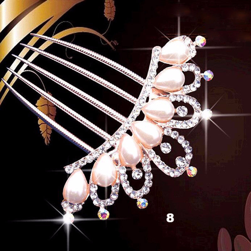 Crystal Rhinestone Pearl Flower Hairpin - PicaPicaBeauty