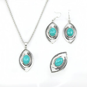 Silver and Turquoise Earring And Necklace Set - PicaPicaBeauty