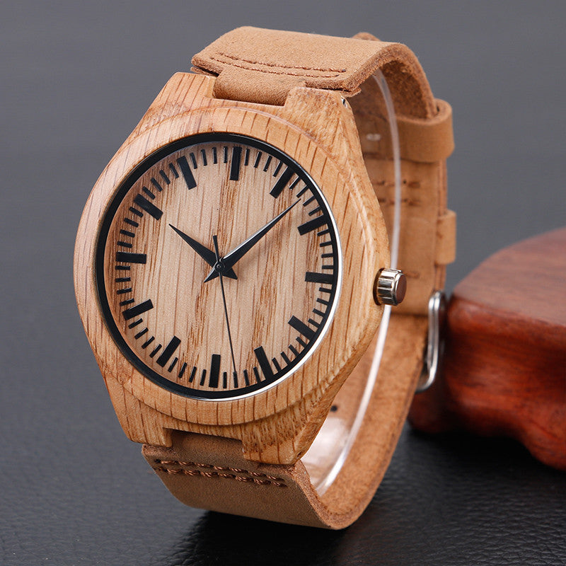 Bamboo Genuine Leather Band Strap Wrist Watch Men Women - PicaPicaBeauty