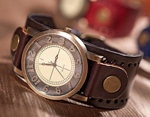 Genuine Leather Bracelet Watch Men - PicaPicaBeauty