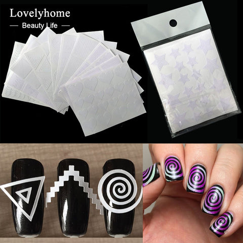 12Pcs Nails Sticker Stencil Swirls Manicure Nail Art Decals DIY 3D Styling Beauty Tools-manicure-PicaPicaBeauty