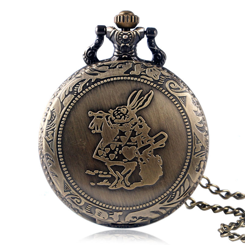 Vintage Bronze Alice in Wonderland Quartz Pocket Watch - PicaPicaBeauty
