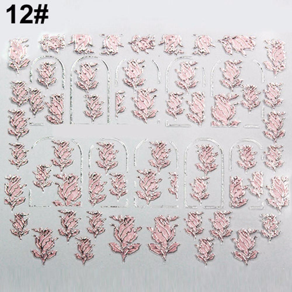 3D Nail Stickers - Pink Flowers Design/Nail Art - PicaPicaBeauty
