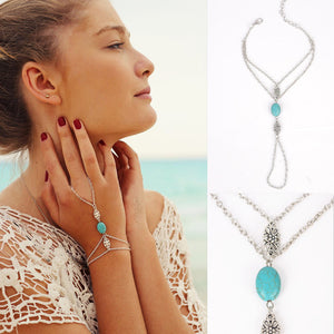 Fashion Chain Bracelet Drop/Hand Harness Chain Turquoise Finger Ring - PicaPicaBeauty