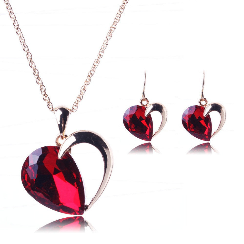 Crystal heart jewellery set - PicaPicaBeauty