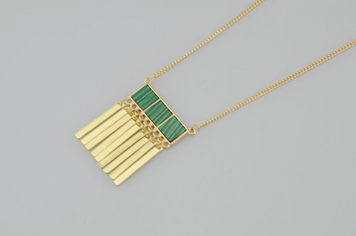 Inlaid super fine malachite Necklace - PicaPicaBeauty