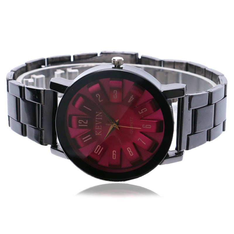 Casual Black Stainless Steel Watch Strap Unique Big Purple/Red Round Dial Wristwatch Women - PicaPicaBeauty