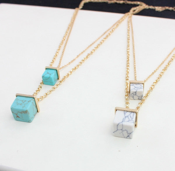 Double turquoise necklace - PicaPicaBeauty