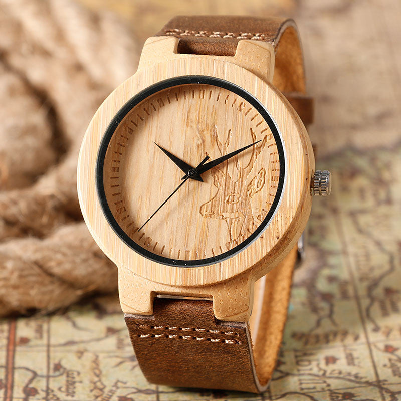 Bamboo Deer Head Genuine Leather  Wrist Watch Moose - PicaPicaBeauty