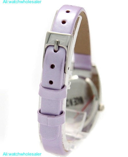 Purple Leather Slim Band Silver Ladies Fashion Watch - PicaPicaBeauty