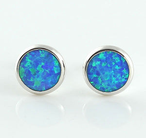 Round Blue Fire Opal earrings - PicaPicaBeauty