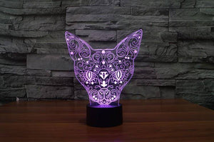 3D Mysterious Cat Night Light (7 color modes)