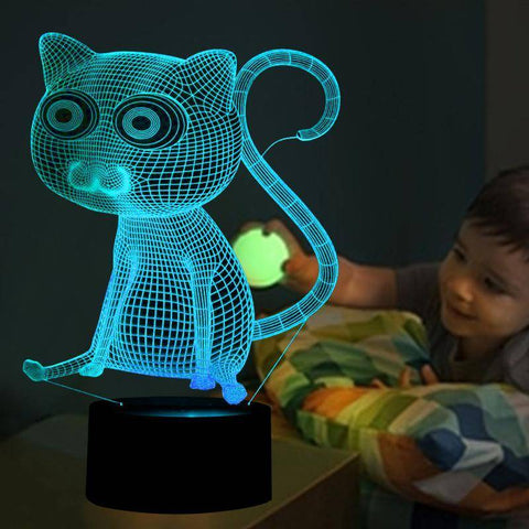 3D Big Eyes Cat Night Light (7 color modes)