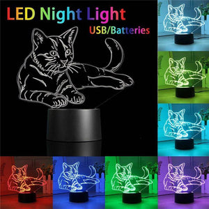 3D Cat Night Light (7 color modes) - Wonderful Cats