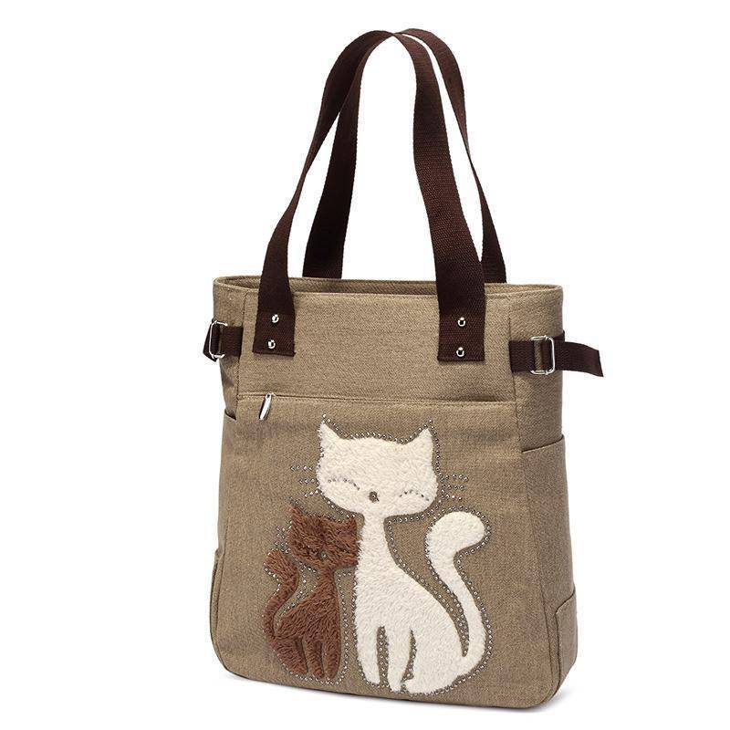 Cat Embroidery Canvas Handbags - Wonderful Cats