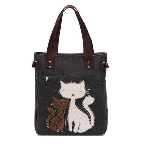 Cat Embroidery Canvas Handbags