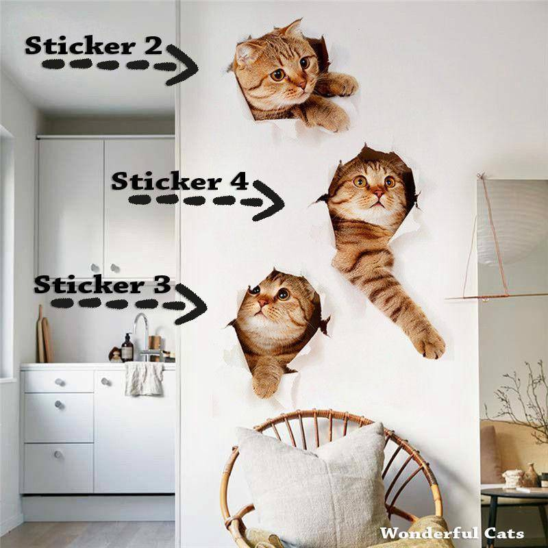 3D Cat Wall/Toilet Sticker - Wonderful Cats