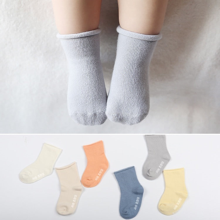korean anti-slip plain socks [1 pair/pack]