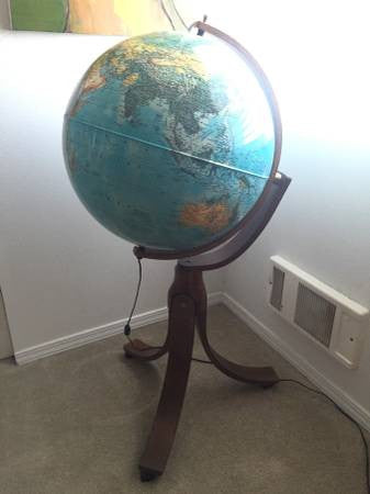 "Vintage 1982 Rand McNally ""Geoscope"" 24 inch World Globe lamp"