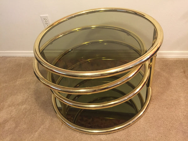 Milo Baughman Circular brass coffee table  SOLD- SOLD + SOLD