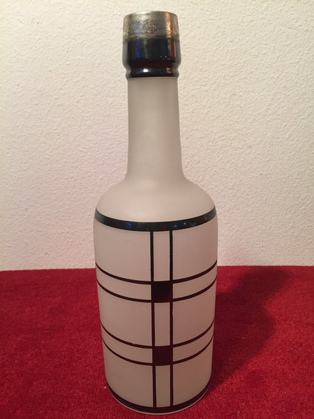 Vintage Art Deco barware Frosted Barware Bottle with Silver design