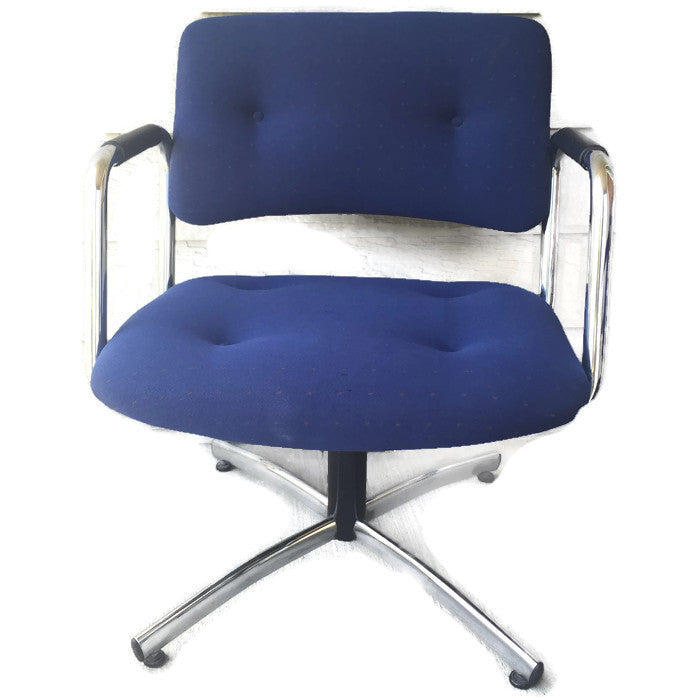 Vintage Steelcase Chrome 4-Star Base Nubby Textured Blue Lounge/Arm Chair  (3 available)