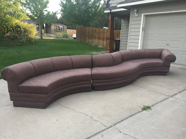 Vintage Kagan Style Three Piece Sectional Serpentine Sofa