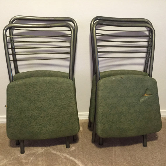 Set of 4 Vintage Gate folding chair / 60's folding chair by Cosco / Mid Century Chair