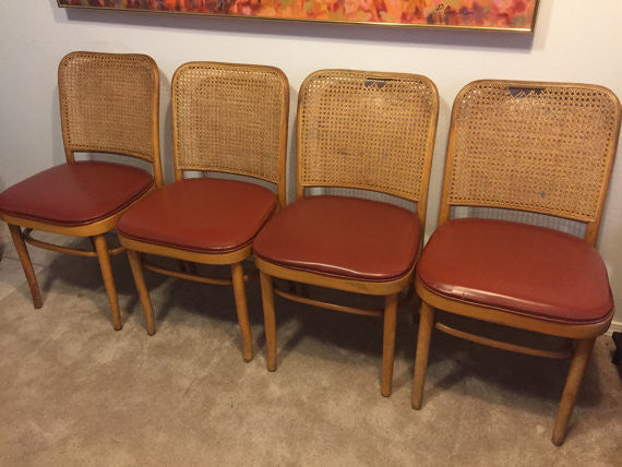 Set of 8 Thonet Inspired 'Prague' Chairs by Shelby Williams Bentwood Cane Dining Chair