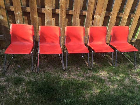Vintage Set of 5 Molded Plastic Stacking Kids Chairs with chrome legs