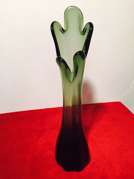 "Mid Century Modern Viking Green Swung Stretch Art Glass Vase  16"" Tall"